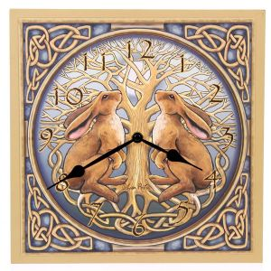 Hippy Clock~Pagan Hippy Moon Gazing Hare Picture Clock~Fair Trade by Folio Gothic Hippy~CKP0